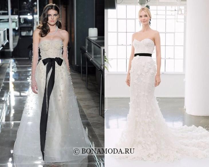 Свадебные платья с чёрным поясом весна-лето 2018