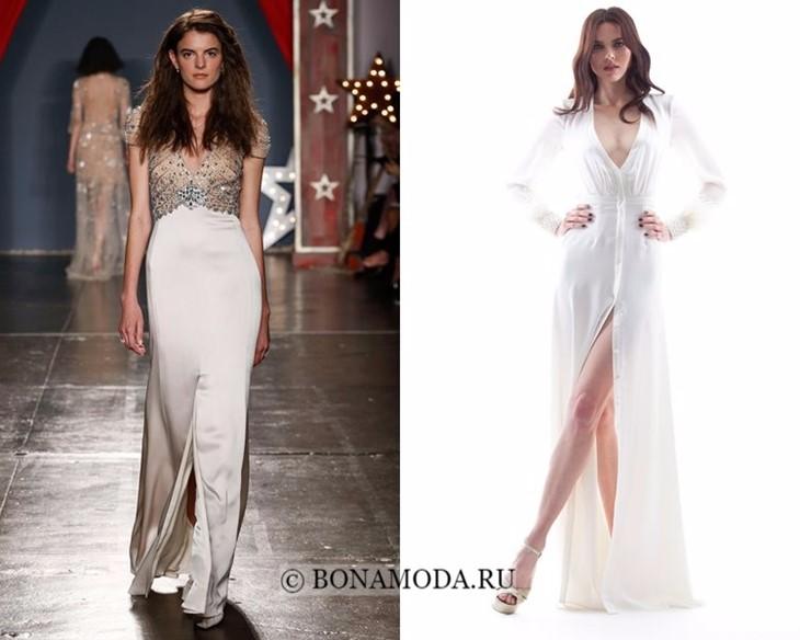 Свадебные платья с разрезом посередине весна-лето 2018