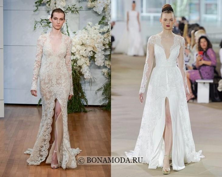 Свадебные платья с центральным разрезом весна-лето 2018