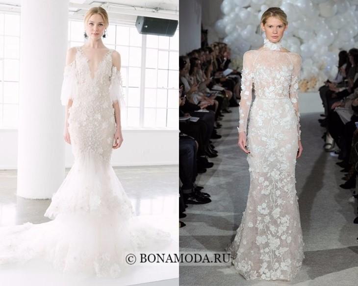 Свадебные платья с цветочными аппликациями весна-лето 2018