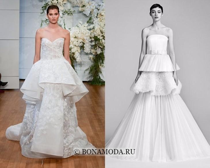 Свадебные платья с объёмной баской весна-лето 2018