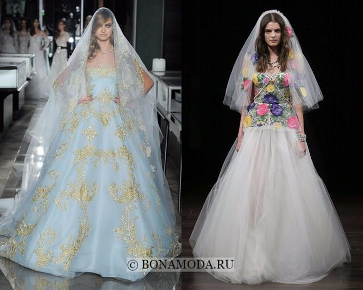 Цветные свадебные платья весна-лето 2018