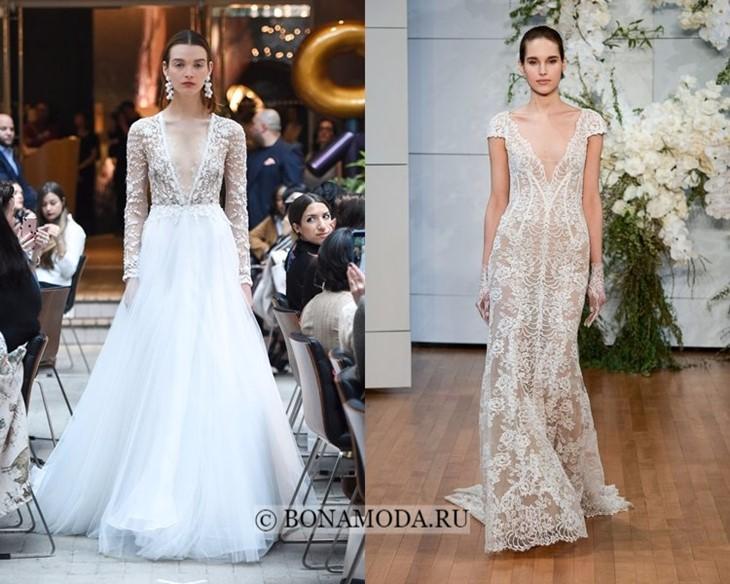 Свадебные платья с V-образным вырезом весна-лето 2018