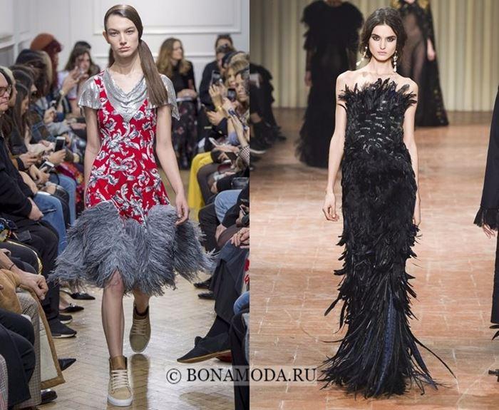 Тенденции осень-зима 2017-2018: платья с перьями