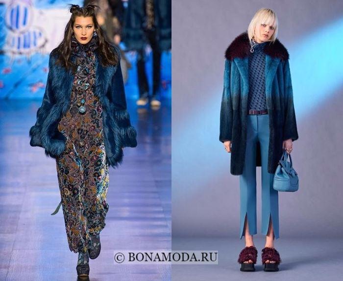 Тенденции осень-зима 2017-2018: синий мех