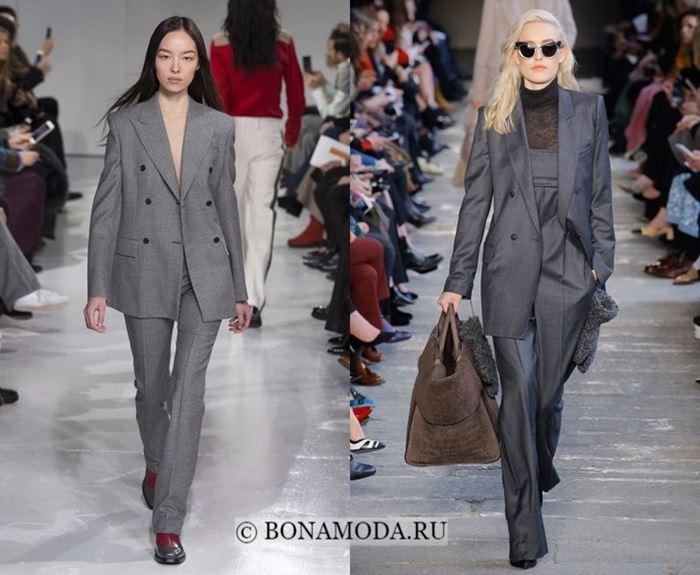 Тенденции осень-зима 2017-2018: серые деловые костюмы