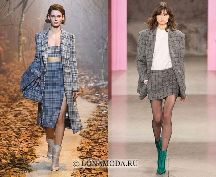 Тенденции осень-зима 2017-2018: клетчатые костюмы с юбкой