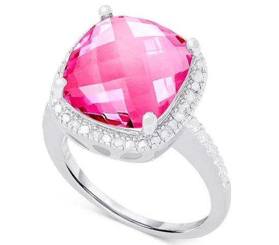 помолвочное кольцо из серебра с розовым кварцем