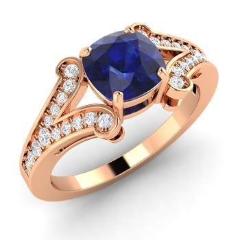 помолвочное кольцо из розового золота с сапфиром