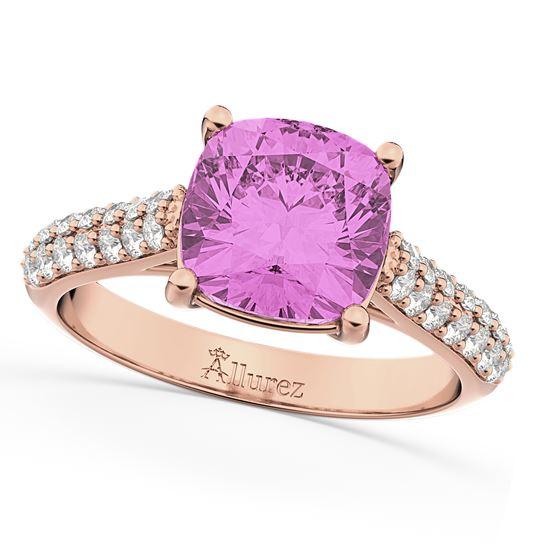помолвочное кольцо из розового золота с сапфиром и бриллиантами