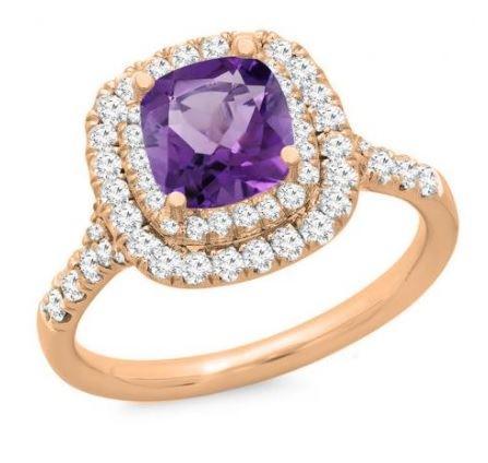 помолвочное кольцо из розового золота с аметистом и бриллиантами