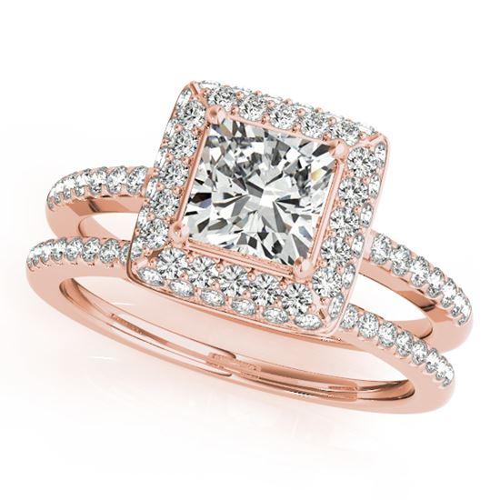 помолвочное кольцо из розового золота с бриллиантами