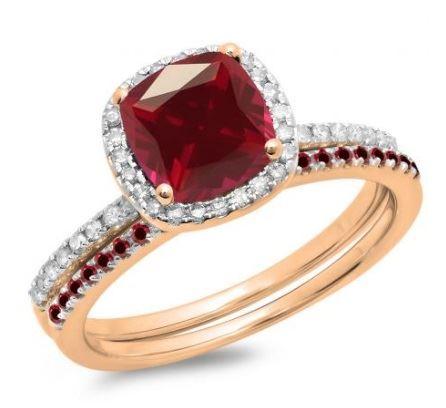 помолвочное кольцо из розового золота с рубином и бриллиантаим