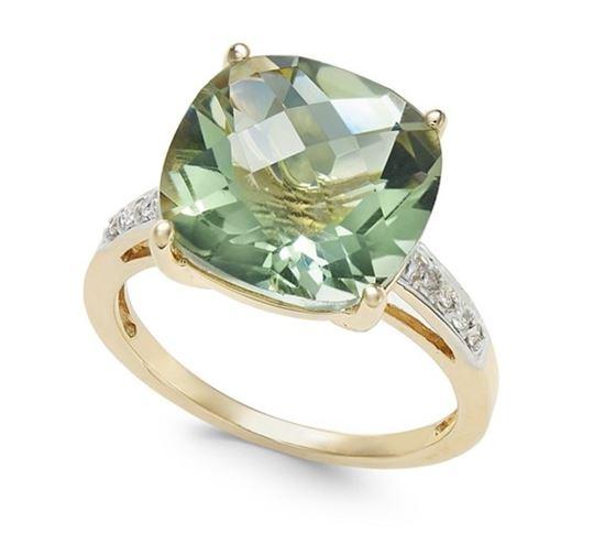 помолвочное кольцо из желтого золота со светло-зеленым кварцем