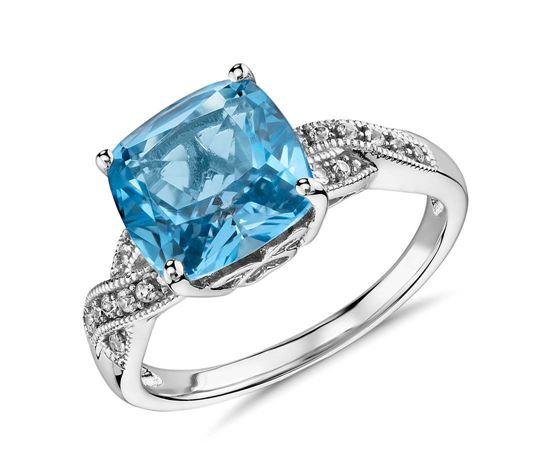 помолвочное кольцо из серебра с голубым топазом и бриллиантами