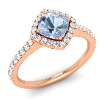 помолвочное кольцо из розового золота с аквамарином и бриллиантами