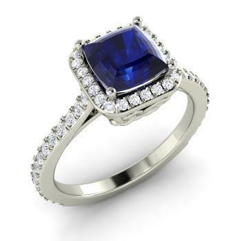 помолвочное кольцо из белого золота с сапфиром и бриллиантами
