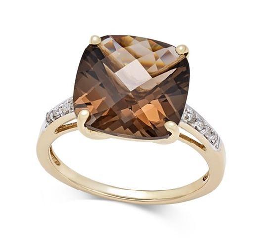 помолвочное кольцо из желтого золота с крупным коричневым кварцем и бриллиантами