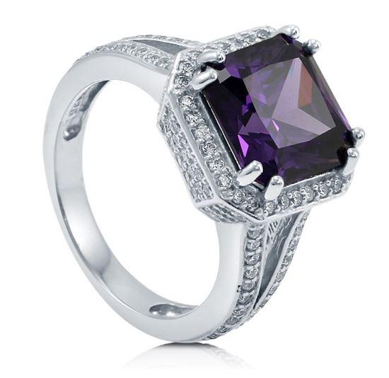 помолвочное кольцо из серебра с аметистом