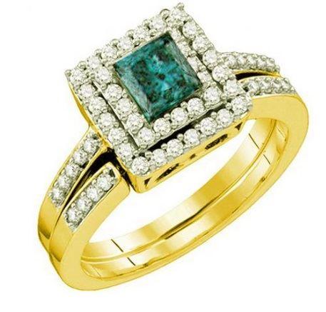 помолвочное кольцо из желтого золота с бирюзовым камнем