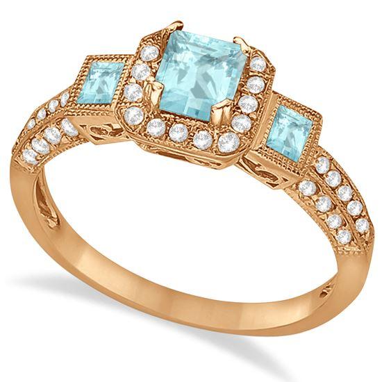 помолвочное кольцо из розового золота с аквамарином