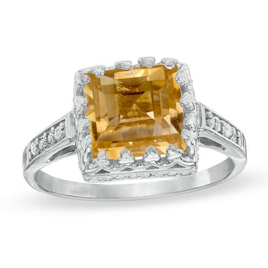 помолвочное кольцо из белого золота с цитрином