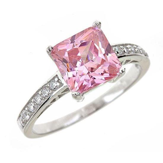 помолвочное кольцо из серебра с розовым сапфиром