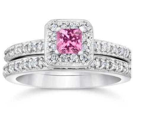 помолвочное кольцо из белого золота с розовым сапфиром
