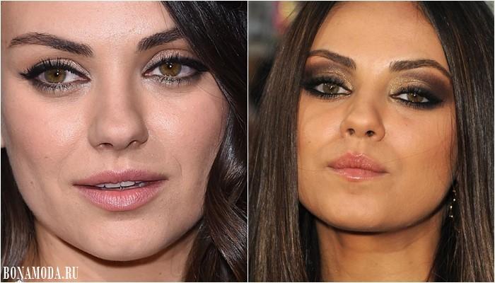 Цвет теней для карих глаз: макияж Милы Кунис