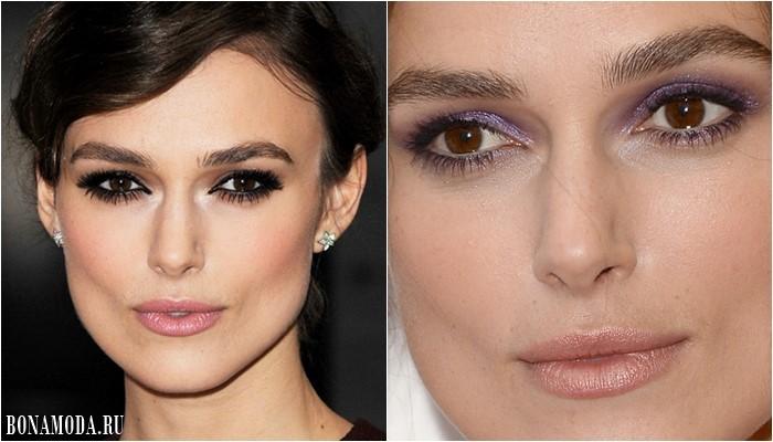 Цвет теней для карих глаз: макияж Киры Найтли