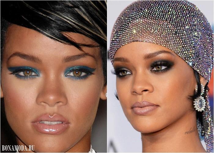 Макияж для светло-карих и каре-зеленых глаз: Рианна - бирюзовые и тёмно-синие тени
