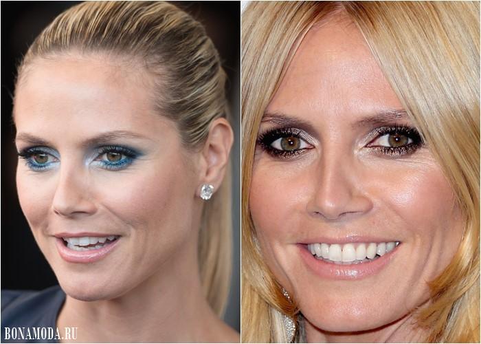 Макияж для светло-карих и каре-зеленых глаз: Хайди Клум - бирюзовые и сиреневые тени