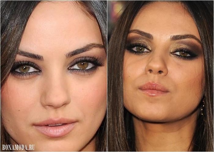 Макияж для светло-карих и каре-зеленых глаз: Мила Кунис - серебристые и золотисто-коричневые смоки айз