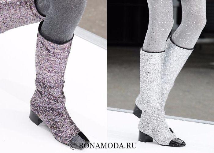 Модная женская обувь осень-зима 2017-2018: сапоги с глиттером