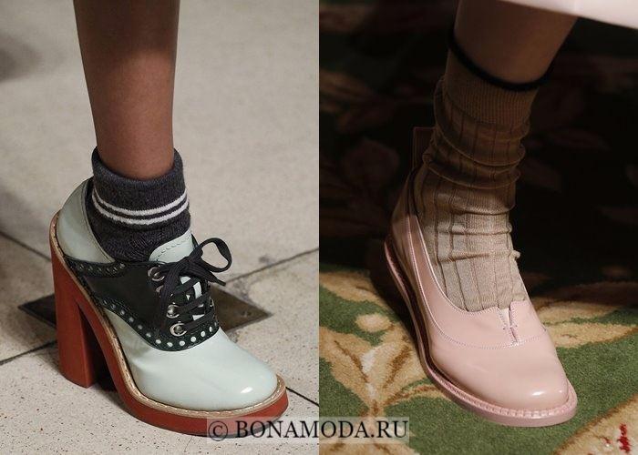 Модная женская обувь осень-зима 2017-2018: туфли с носками
