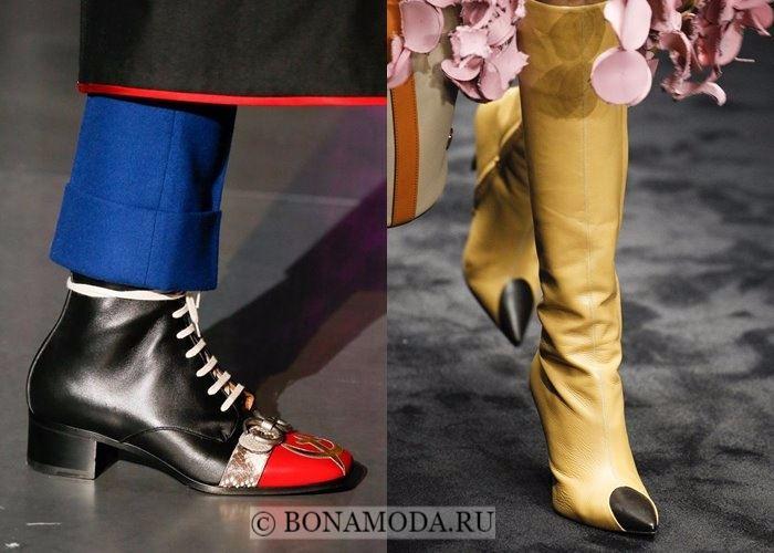 Модная женская обувь осень-зима 2017-2018: контрастный мысок