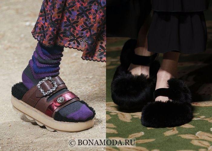 Модная женская обувь осень-зима 2017-2018: шлёпанцы с меховой отделкой