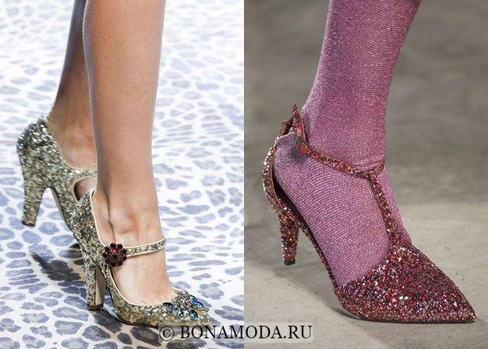 Модная женская обувь осень-зима 2017-2018: туфли с глиттером
