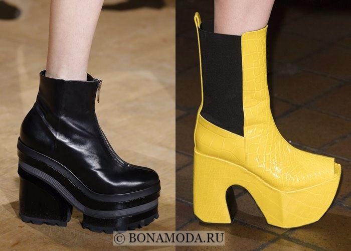 Модная женская обувь осень-зима 2017-2018: ботильоны на большой платформе