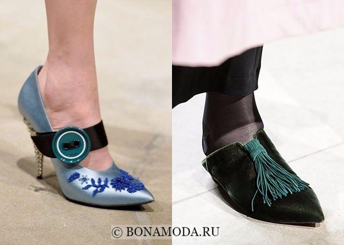 Модная женская обувь осень-зима 2017-2018: туфли с острым мыском