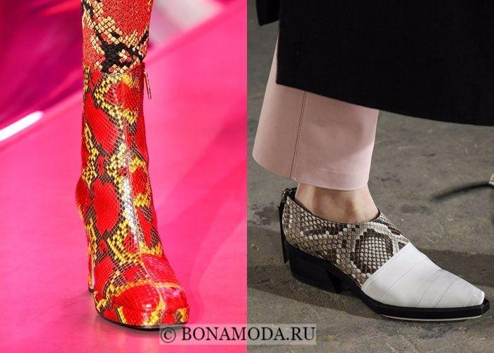 Модная женская обувь осень-зима 2017-2018: змеиный принт