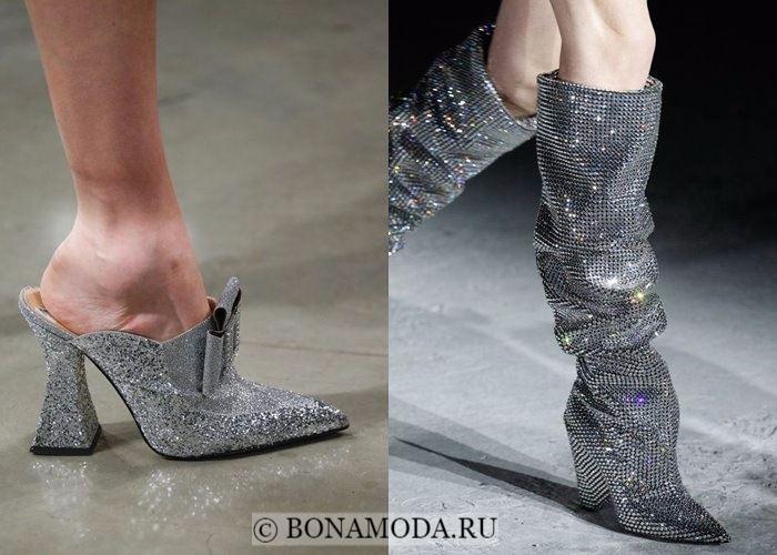 Модная женская обувь осень-зима 2017-2018: серебристый металлик с глиттером