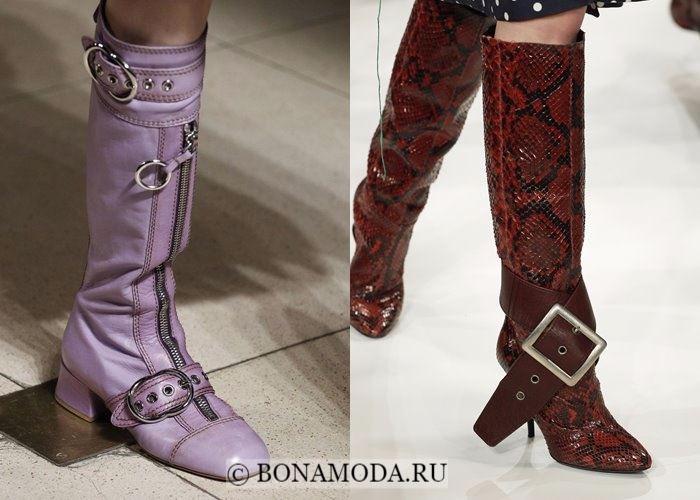 Модная женская обувь осень-зима 2017-2018: сапоги с большими пряжками
