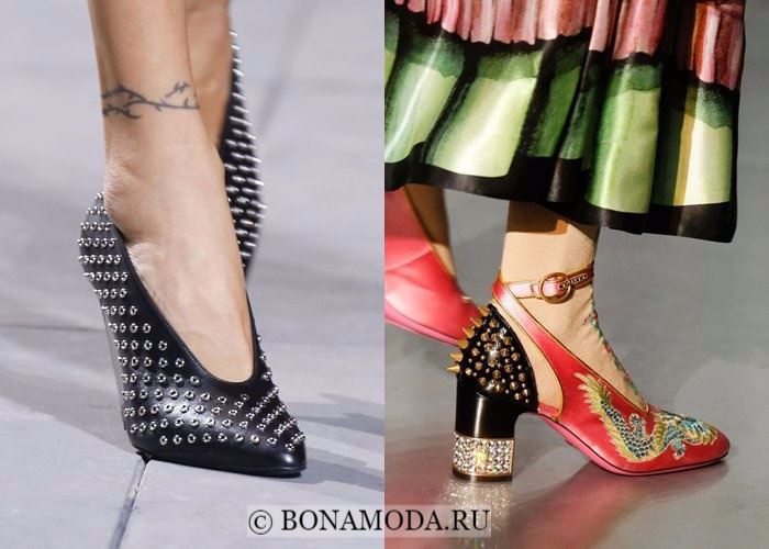 Модная женская обувь осень-зима 2017-2018: туфли с металлическими заплёпками
