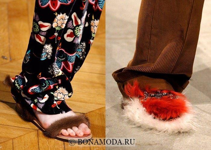 Модная женская обувь осень-зима 2017-2018:  меховые шлёпанцы
