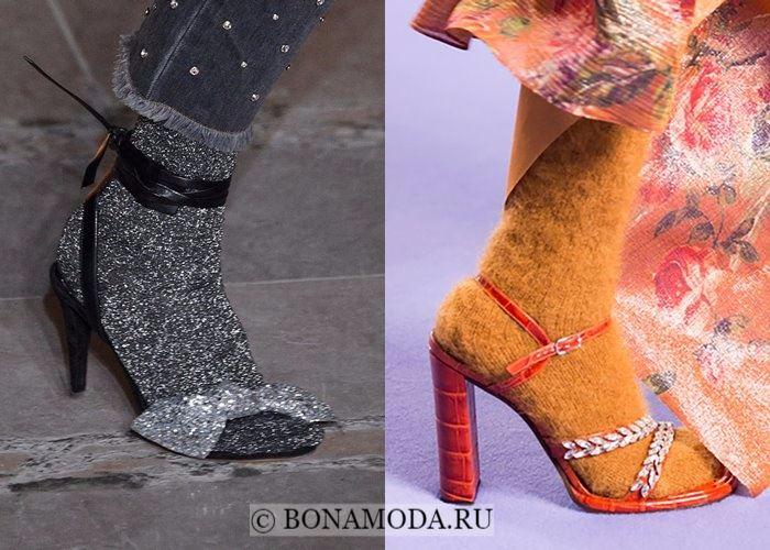 Модная женская обувь осень-зима 2017-2018: босоножки с носками