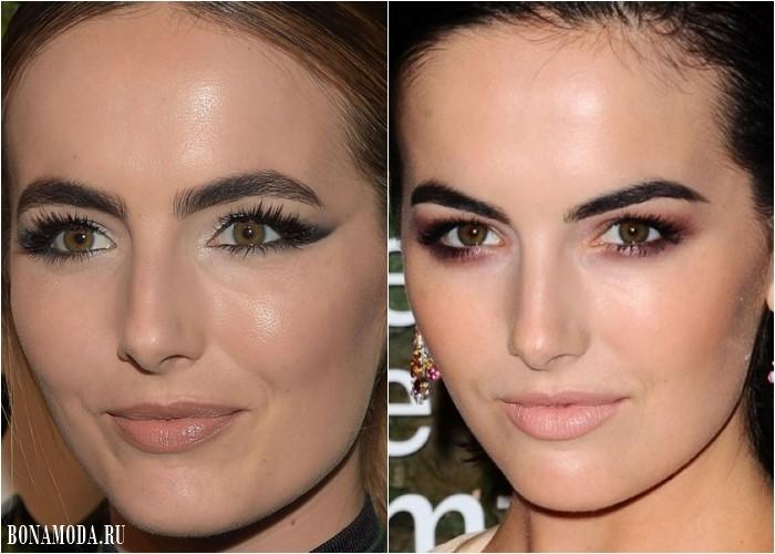 Нависшее веко: грамотный макияж глаз Камиллы Белль в стиле смоки айз и длинными густыми ресницами