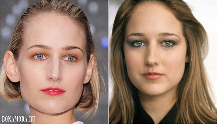 Нависшее веко: красивый и яркий макияж глаз Лили Собески вс оранжевыми и серыми матовыми тенями