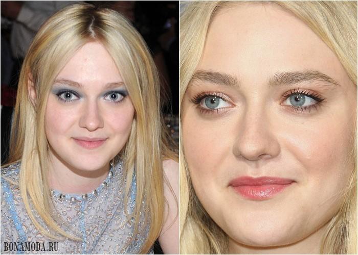 Цвета теней для серых глаз: макияж Дакоты Фаннинг