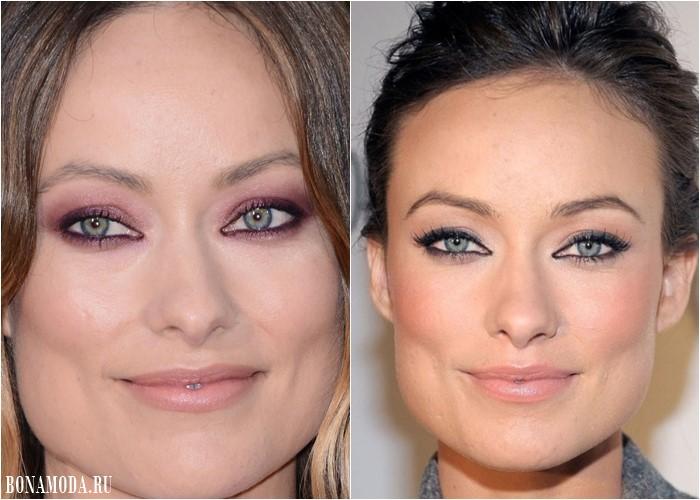 Цвет теней для зеленых глаз: макияж Оливии Уайлд  - сиреневые и бежевые со стрелками